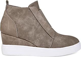 Brinley Co. Womens Clayre Athleisure Laser-Cut Side-Zip Sneaker Wedges
