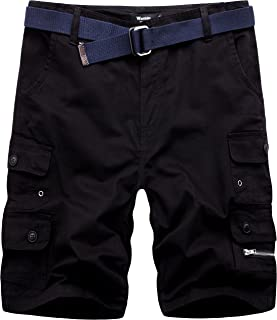 Wantdo Men's Summer Belted Cotton Combat Chino Cargo Shorts Black 34