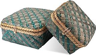 Decorasian Caisse tressée en bambou - Coffre décoratif avec couvercle bleu et vert - Set M + L