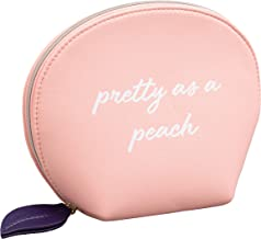 Draper James Women's Faux Leather Peach Cosmetic Travel Bag with Zip Closure, Magnolia