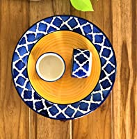BackSpace Hand Painted Ceramic Deep Bowl Starter Plate Serving Platter Tray with 2 Dip Bowls (Blue, Yellow, 21.5 cm...