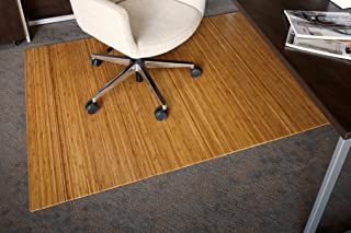 Anji Mountain Bamboo Roll-Up Chair Mat without Lip, Natural, 48 x 72