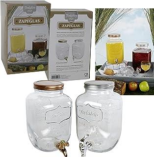 Saftspender 4 litros de vidrio con Zapfhahn Wasserspender Getränkespender Yorkshire con Kunststoffzapfhahn y tapas