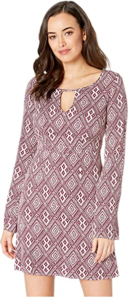 2309 Wine Aztec Dress