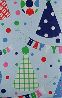 Happy Birthday Banners, Balloons and Party Hats Vinyl Flannel Back Tablecloth (60
