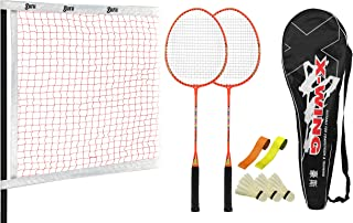 Guru X-Wing BS01-Combo Two Racket & 2 PVC Grip & 1 Cover & 3 shuttlecock And 1 Four Sided Badminton Net; Badminton Set ; SIze27 inch