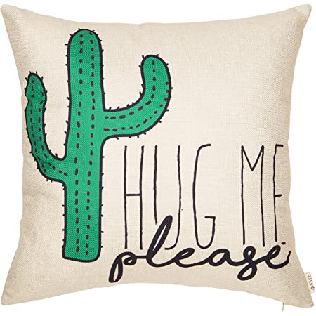 Amazon Com Fjfz Please Hug Me Cactus Funny Quote Decor Spring Summer Decoration Cotton Linen Home Decorative Throw Pillow Case Cushion Cover With Words Sofa Couch 18 X 18 Home Kitchen