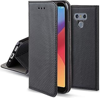 Moozy Funda para LG G6, Negra - Flip Cover Smart Magnética con Stand Plegable y Soporte de Silicona