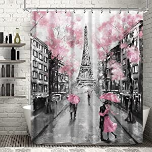 Riyidecor Thicken Heavy Duty Paris Eiffel Tower Shower Curtain for Bathroom Decor 72Wx72H Inch Vintage Landscape for Women Girl Romantic French Scenery Pink Fabric Waterproof 12 Pack Hooks WW-PAVT