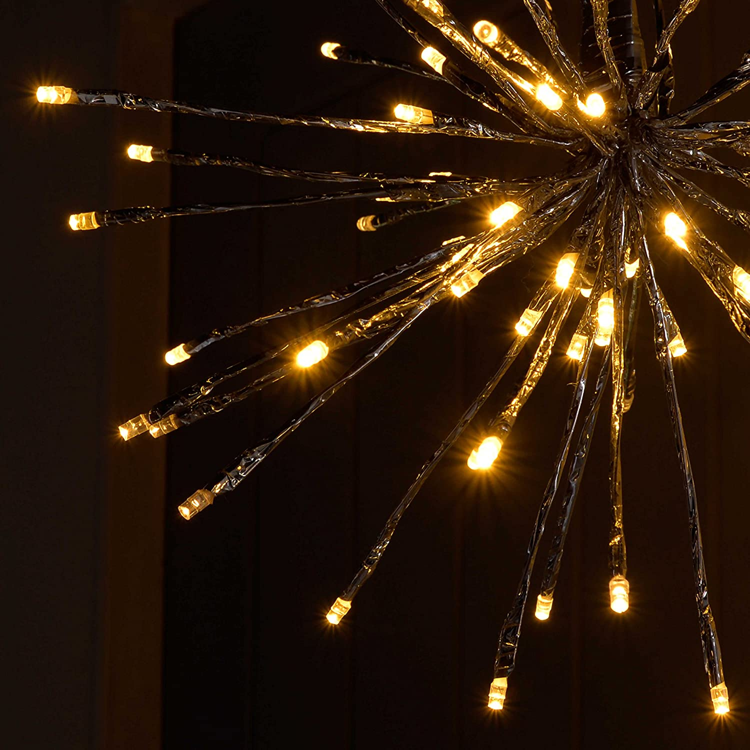 40 cm Warm White WeRChristmas Pre-Lit Flashing Silver 3D Star Ball Light with 80-LED
