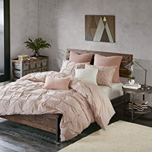 INK+IVY Masie Cotton Comforter Set-Modern Casual Elastic Embroidery Design All Season Down Alternative Cozy Bedding with Matching Shams, Full/Queen, Blush 3 Piece