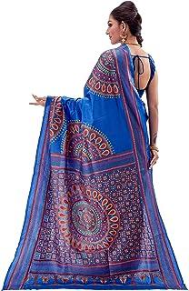 SareesofBengal Women's Pure Silk Handloom Kantha Stitch Saree Blue