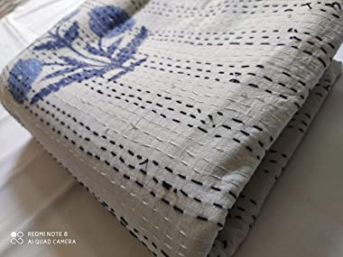 thehandicraftworld Beautiful Floral Print Kantha Quilt Indian Hand Block Print Kantha Quilt Reversible Cotton Bedding Bedspre