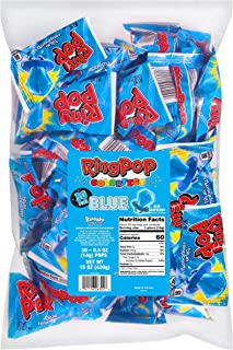 Ring Pop Blue Raspberry Party Bulk Bag, Individually Wrapped, Blue Candy Lollipop Suckers with Blue Rings (Pack of 30)