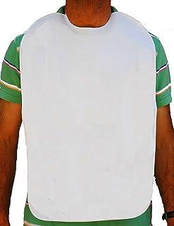 Baberos adulto, en rizo 100%algodón plastificado. Blanco. (