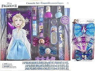 Frozen II Nail Polish & Lip Gloss Makeup Set for Girls Plus Hair Accessories - Nail Polish, Lip Gloss, Lip Balm, Nail File...