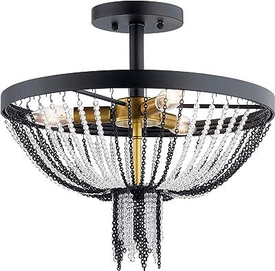 Kichler 52049bkt Alexia Semi Flush 3 Light 180 Total Watts Textured Black Amazon Com
