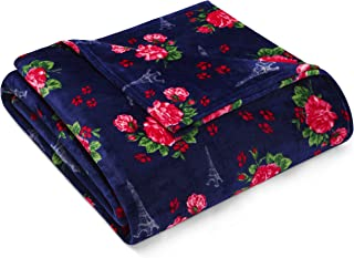 Betsey Johnson French Floral Blanket, Full/Queen, Navy