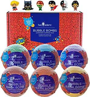 Superhero Bubble Bath Bombs for Kids with Surprise Toys Inside by Two Sisters Spa. 6 Large 99% Natural Fizzies in Gift Box...