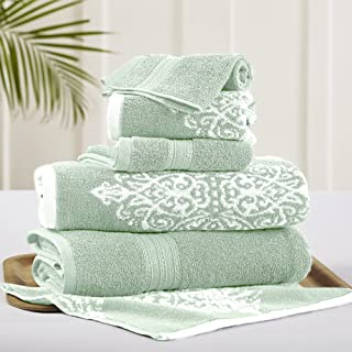 Amrapur Overseas | Artesia Damask 6 Piece Reversible Yarn Dyed Jacquard Towel Set (Sage)