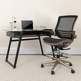 Flash Furniture Mid-Back Transparent Black Mesh Drafting...