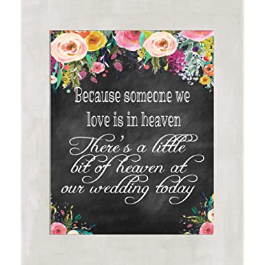 Wedding Table Sign - In Loving Memory Wedding table Sign 8x10 Chalkboard Look Background-((unframed))
