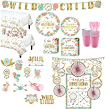 Party City Ultimate Boho Girl Birthday Party Kit for 32 Guests, Includes Photo Booth Props, Decorating Kit and Banners