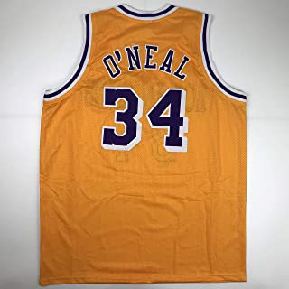 2e43f10f119 Unsigned Shaquille Shaq O'Neal Los Angeles LA Yellow Custom Stitched  Basketball Jersey Size Men's