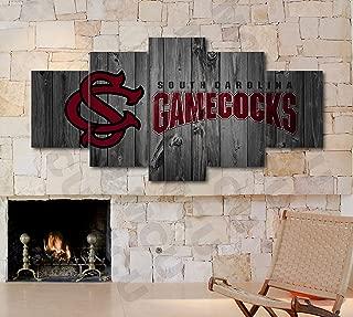 5 Piece American Football College University Teams Art Decor Wall Poster (5 Piece Large, South Carolina Gamecocks)