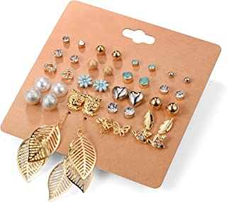 Aganippe 20 Pairs Girl's Stainless Steel Earrings Cute Assorted Multiple Animal Stud Earring Sets,Hypoallergenic,Christmas Gift For Girls