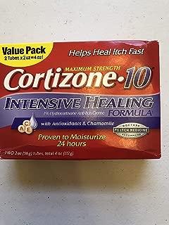 cortizone 10 Maximum Strenght Intensive Healing 1% hydrocortisone Anti Itch Cream Two 20z Tubes, Total 4 oz