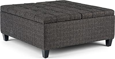 SIMPLIHOME Harrison 36 inch Wide Square Coffee Table Lift Top Storage Ottoman, Cocktail Footrest Stool in Upholstered Ebony Tufted Tweed Fabric for the Living Room, Traditional