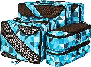 Bagail 6 Set Packing Cubes,3 Various Sizes Travel Luggage Packing Organizers(Geometry Blue)
