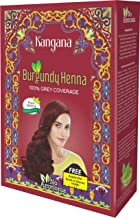 Kangana Borgoña en polvo de Henna para cobertura 100% gris - Polvo de Henna Natural para Tinte para el Cabello/Color - 5 bolsas en el Interior - Total de 50 g (1.8 oz)