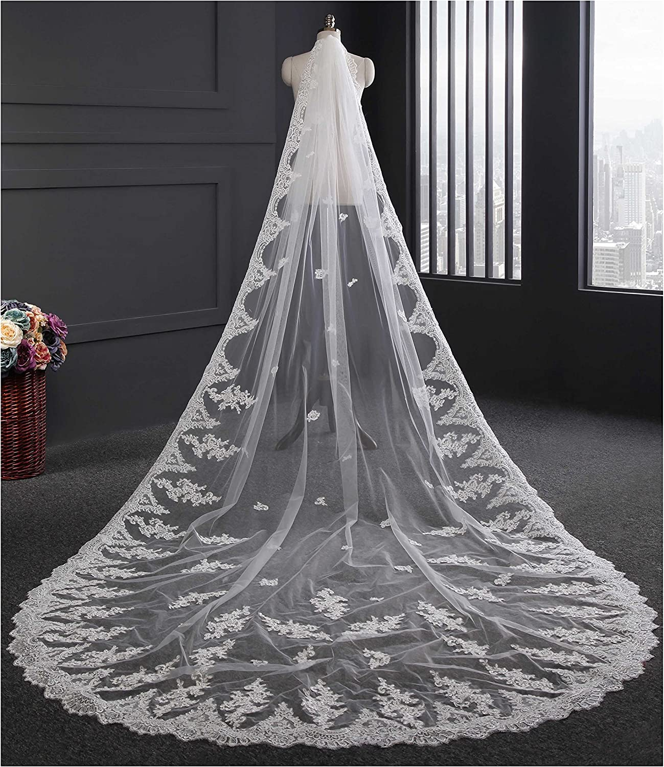 BuyBro Single Tier Long Cathedral Bridal Wedding Veils Lace Trim Edge with Comb
