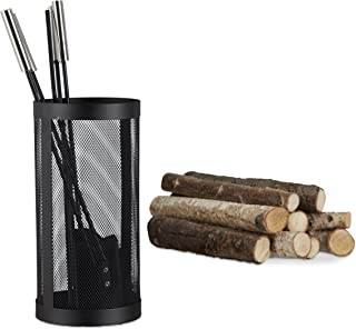 Relaxdays Modern Steel Fire Irons. 5-Piece Fireplace Companion Set with Shovel, Broom, Poker, Tongs and Stand, Black