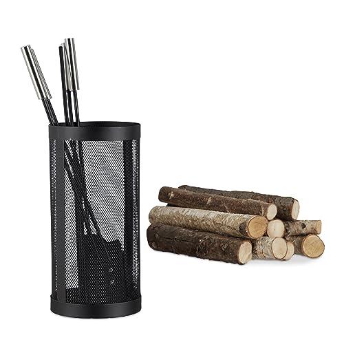 Relaxdays Ensemble serviteur de cheminée 4 pièces accessoire pelle balai tisonnier, noir