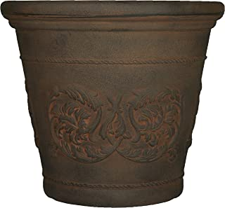 Sunnydaze Arabella Flower Pot Planter, Outdoor/Indoor Extra-Durable Double-Walled Polyresin with Fade-Resistant Sable Fini...