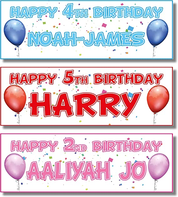 ANY NAME  ANY AGE 2 PERSONALISED BLUE TURQUOISE BALLOON HEART BIRTHDAY BANNERS