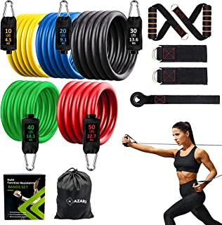 Mazari Resistance Bands Set 11 Pieces,tube Band Stakable Up to 150lb Workout Bands With Door Anchor,handle & Ankle Straps ...