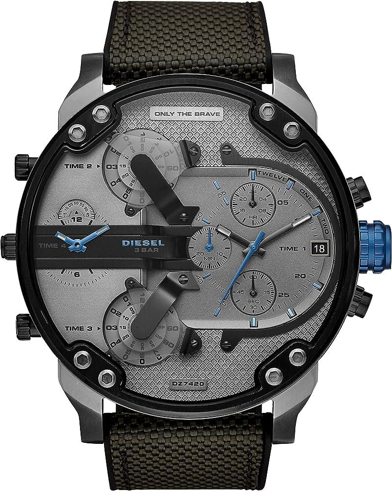 Diesel orologio cronografo uomo con cinturino in nylon e cassa in acciaio inossidabile DZ7420