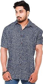 Champa Mens Silky Denim Navy Blue Printed Half Sleeve Shirt
