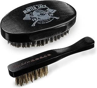 Hunter Jack Beard Brush Kit for Men, 2 pc - Mens Beard Grooming Kit, Beard Care & Mustache - Grow a Beard Kit with 100% Boar Bristle Hair Brush - Premium Gift Box - Free