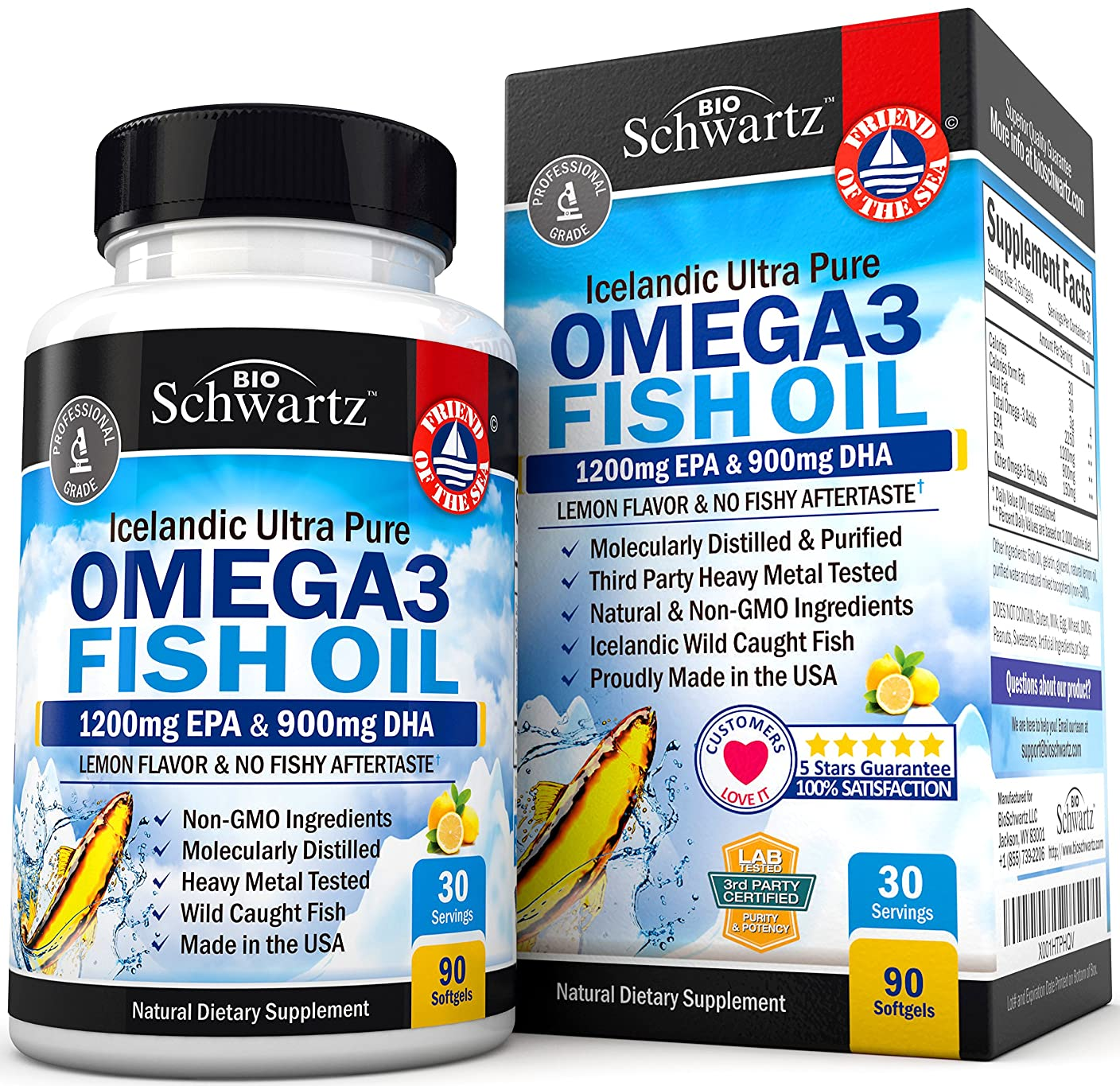 ハム続編一時的BioSchwartz Omega 3 Fish Oil Supplement with 1200mg EPA, 900mg DHA 90粒
