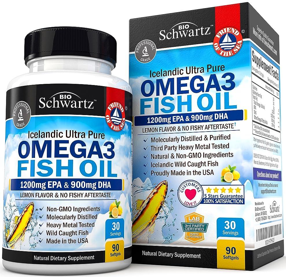 何でも間接的年齢BioSchwartz Omega 3 Fish Oil Supplement with 1200mg EPA, 900mg DHA 90粒