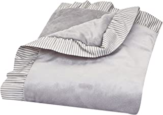 Trend Lab Dove Gray Receiving Blanket-Ruffle Stripe Trimmed