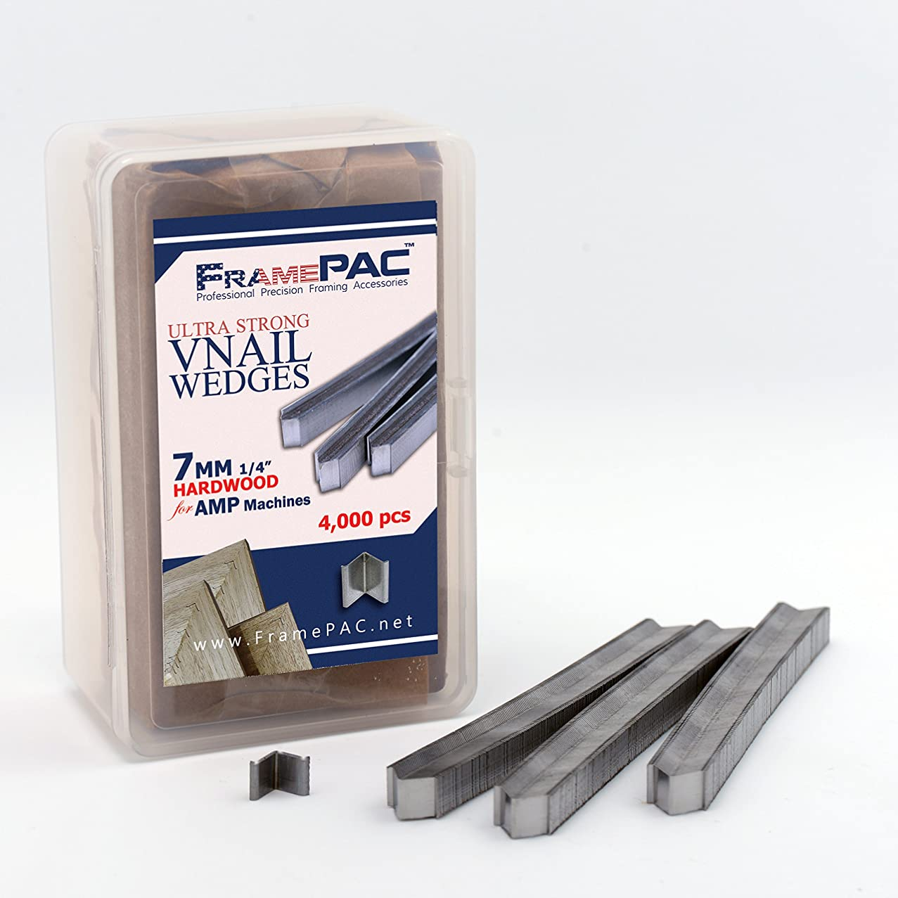 V Nails for Picture Framing - Ultra Strong - 7mm (1/4 Inch) Vnail Wedges for Joining Picture Frame Corners - Hardwood Frames - AMP [4000 V Nail Pack, Stacked]