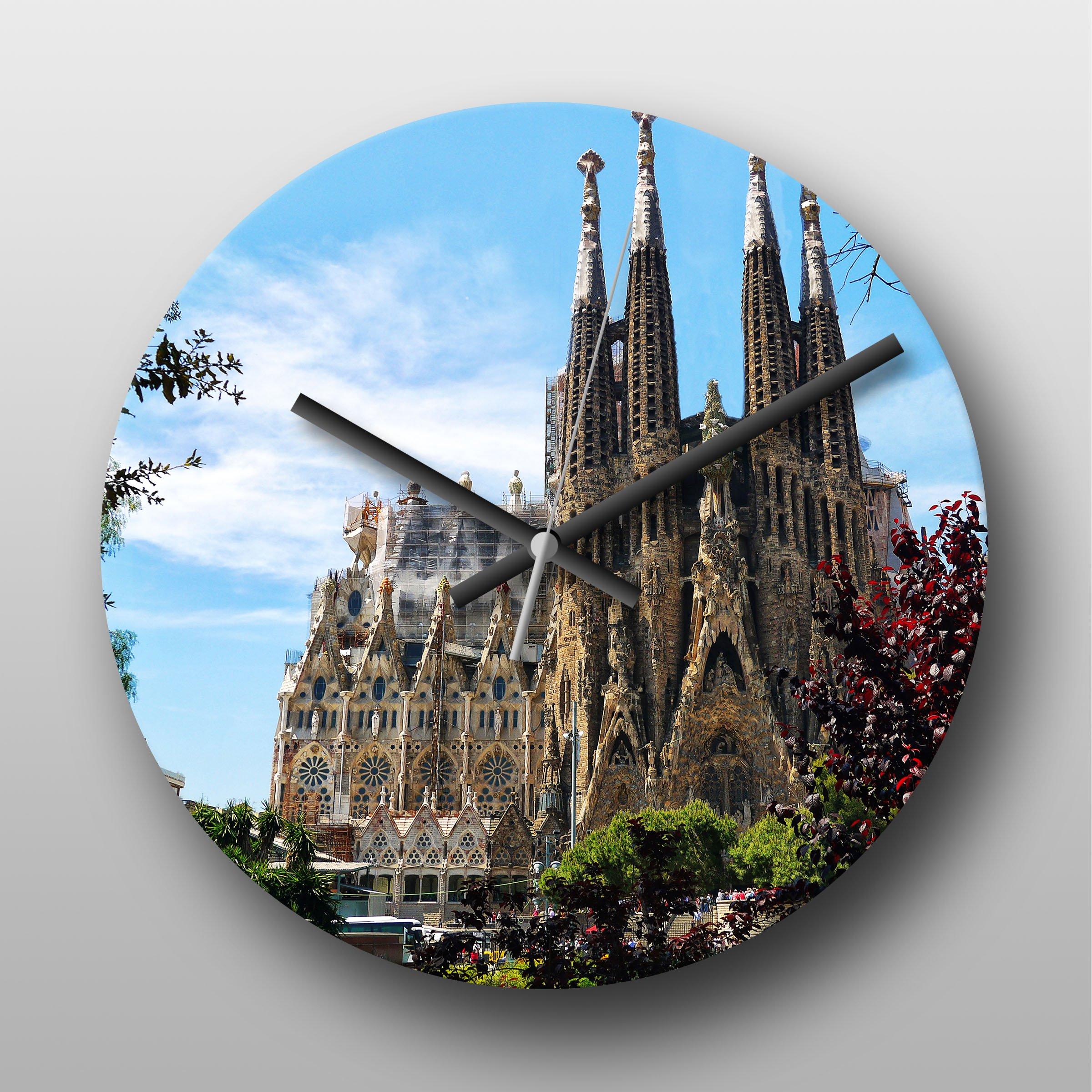 Reloj de pared de la bandera de España Sagrada Familia Barcelona - Reloj de pared con mecanismo