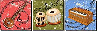 Poylaamo, Set of 3 Indian Classical Music Wall Painting Framed on MDF Board. Size 7.5X7.5 Inches each.