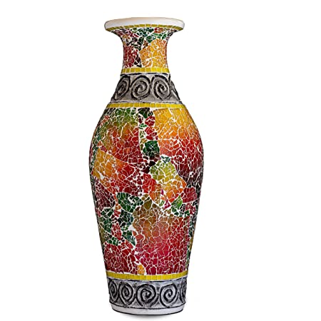 Amazon Com Zorigs Decorative Tall Floor Vase 24 X 12 Inches Tall Cylinder Vase Made Of Terracotta With Colorful Glass Mosaic Pieces Exquisite Home Decor Accent Piece For Hallway